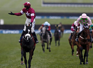 Bryan Cooper celebrating aboard Don Cossack at the Cheltenham Gold Cup