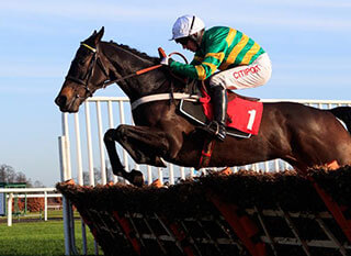 Charli Parcs running over the fence during the JCB Triumph Hurdle