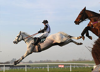 Exceptional photo of a horse jumping over the fence at the Cheltenham Kim Muir Challenge