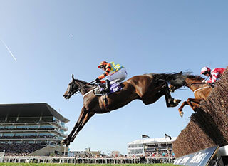 Jockey and horse at the RSA Chase - leading the race