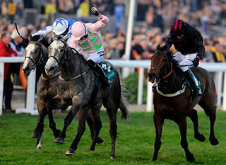 Patrick Mullins riding Champagne Fever  to win The Weatherbys Champion Bumper