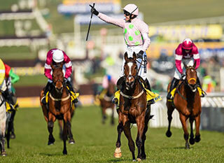 Ruby Walsh celebrates winning the Cheltenham Ryanair Steeple Chase on Vautour