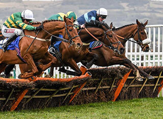 Stunning shot of the three leading horses at a previous Coral Cup