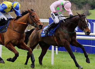 Two jockeys competing during the Martin Pipe Handicap Hurdle