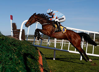 Un De Sceaux jumping a fence during the Ryanair Steeple Chase