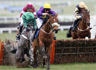 Windsor Park ridden by Davy Russel on their way to victory in the Ballymore Novices Hurdle